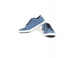 Rudose Mens Blue Denim Casual Canvas Sneakers