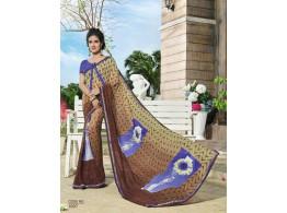 Ziva Designer Printed Embroidered Multicolor Saree