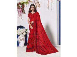 Designer Georgette Fabric Red Saree