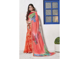 Designer Embroidered Printed Multicolor Saree