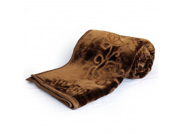 Little India Luxurious Embossed Korean Mink Double Blanket - Coffee Brown