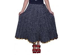 Pezzava Beautiful Cotton Printed Black M.Skirt