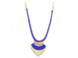 Archiecs Creations Alloy Silk Thread Blue & Golden Charm Necklace for Women