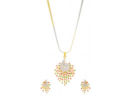 SPE Indian Ethnics Golden and Silver Brass Pendant Set for Women (PS-01)