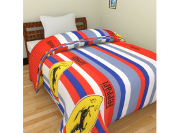 KRISHNA Stripe ferrari Print Double Ac Blanket - Multicolour