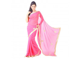 Archiecs Creations Adorning Jaipuri Moti Work Chiffon Saree (With Blouse Piece) - Light Pink