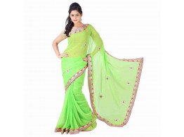 Archiecs Creations Alluring Jaipuri Gota Patti Chiffon Saree (With Blouse Piece) - Light Green