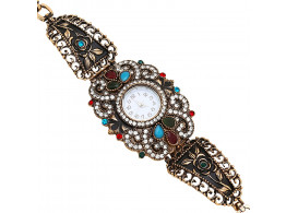 Archiecs Creations Stone & Pearl Studded Brass Analouge Watch for Women