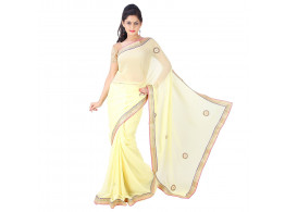 Archiecs Creations Adorning Jaipuri Moti Work Chiffon Saree (With Blouse Piece) - Beige