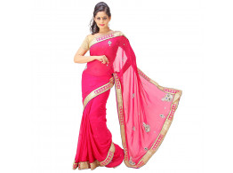 Archiecs Creations Stunning Jaipuri Nakashi-Moti Work Pure Viscose-Georgette Saree (With Blouse Piece) - Pink