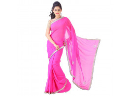 Archiecs Creations Elegant Jaipuri Chandla Work Chiffon Saree (With Blouse Piece) - Pink