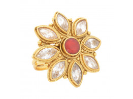 SPE Indian Ethnics Golden Ring for Women - Free Size (R-02)