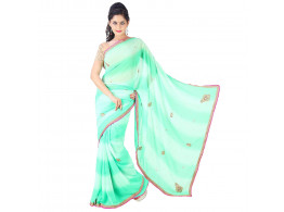 Archiecs Creations Beautiful Jaipuri Nakashi Work Georgette Saree (With Blouse Piece) - Light Green
