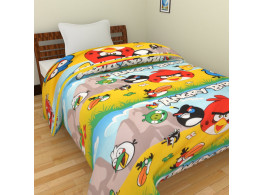 KRISHNA Cartoon Angry Bird Print Single Ac Blanket - Multicolour