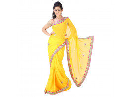 Archiecs Creations Alluring Jaipuri Gota Patti Chiffon Saree (With Blouse Piece) - Yellow