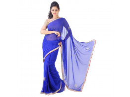 Archiecs Creations Elegant Jaipuri Chandla Work Chiffon Saree (With Blouse Piece) - Blue
