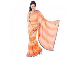 Archiecs Creations Beautiful Jaipuri Nakashi Work Georgette Saree (With Blouse Piece) - Orange