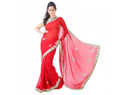 Archiecs Creations Alluring Jaipuri Gota Patti Chiffon Saree (With Blouse Piece) - Red