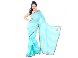 Archiecs Creations Beautiful Jaipuri Nakashi Work Georgette Saree (With Blouse Piece) - Light Blue