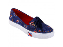 Kassler Women Slip-On Style Blue Canvas Shoes