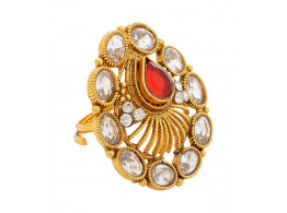 SPE Indian Ethnics Golden Ring for Women - Free Size (R-17)