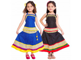 Archiecs Creations Multicolored Cotton Lehenga Choli Combo Set For Girls (Set of 2)