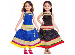 Archiecs Creations Multicolored Cotton Lehenga Choli Combo Set For Girls (Set of 2)