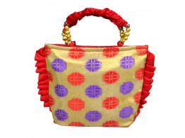 Brocade silk Frill Designed handbag