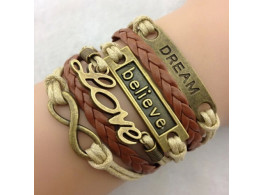 Angelfish Classic Bronze Love Leather Alloy Wrap Bracelet