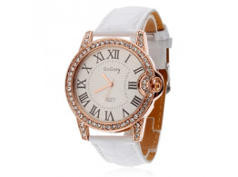 Angelfish Women'S Watch Circle High Quality Automatic White, Length 24Cm Alloy With Pu Strap Watch