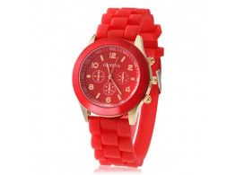Angelfish Women's or Girl's Watch Fashion Silicone Strap Candy Color Length 25Cm Red