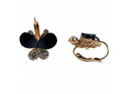 fashion exquisite crystal black butterfly earring for women alloy stud earrings jewelry