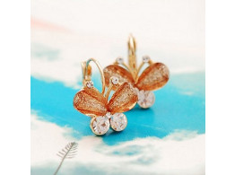 fashion exquisite crystal brown butterfly earring for women alloy stud earrings jewelry