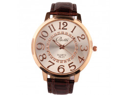 women fashion quartz wristwatch numerals golden dial brown leather strap