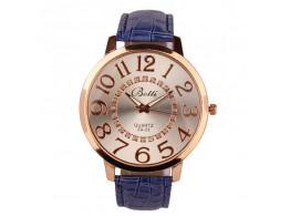 women fashion quartz wristwatch numerals golden dial blue leather strap