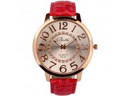 women fashion quartz wristwatch numerals golden dial red, pink leather strap