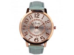 women fashion quartz wristwatch numerals golden dial sea turquoish leather strap