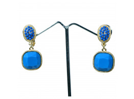 fashion designer rhinestone blue clip earrings