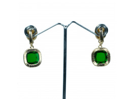 fashion designer rhinestone green clip earrings