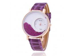 Women Rhinestone Wrist Watch Leather Strap - Purple