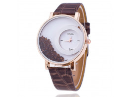 Women Rhinestone Wrist Watch Leather Strap - Coffee