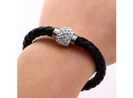 Pu Leather Crystal Bracelet With Magnet Clasp - Black