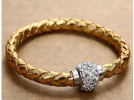 Pu Leather Crystal Bracelet With Magnet Clasp - Golden