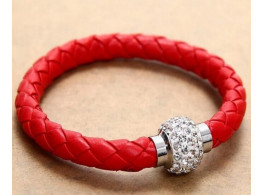 Pu Leather Crystal Bracelet With Magnet Clasp - Red