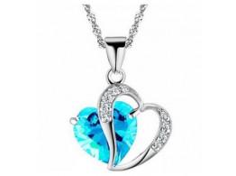 Angelfish Romantic Multicolor Crystal Love Heart Pendants Necklaces