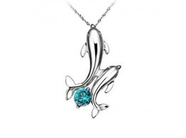 Angelfish Silver Plated Double Dolphins Pendant Charm Chain Necklace