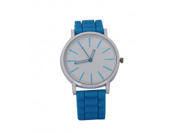 Anglefish Blue Round case Dial Analog Silicon band Luxury Automatic Wrist Watch