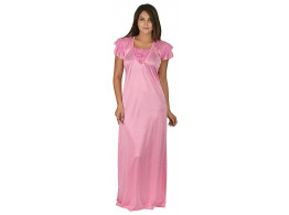 Archiecs Creation Women's Satin Baby Pink Long Nightwear-NightDress-Gowns (Free Size)