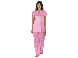 Archiecs Creation Women's Satin Baby Pink Top and Pyjama Night Suit-Nightdress (Free Size)