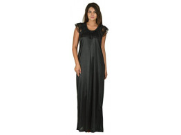 Archiecs Creation Women's Satin Black Long Nightwear-NightDress-Gowns (Free Size)